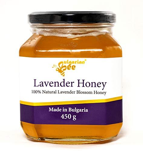 450 g Miel de flor de lavanda - Certificado sin antibióticos, sin azúcar, sin calentar, sin pasteurizar, crudo, miel real BulgarianBee®