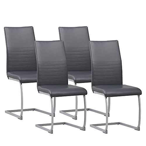 ALBATROS Freischwinger Murano 4-er Set Grau, SGS geprüft, Elegante Esszimmerstühle/Schwingstühle,...