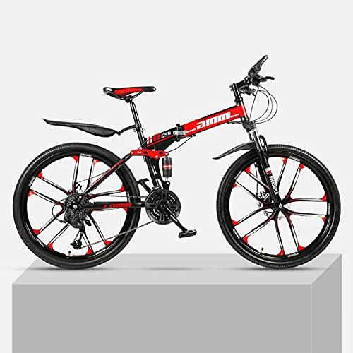 LHQ-HQ Bicicleta De Montaña Plegable para Adultos, Rueda De 26', Doble Suspensión, Freno De Disco Doble Adecuado De 21 Velocidades para Una Altura De 5.2 A 6 Pies,D