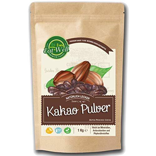 Kakao Pulver (1 kg) | ungesüßter Rohkakao zum Verfeinern von Süßspeisen | 100% reines Kakao •Dunkle Kakaopulver • ohne Zucker - •ohne Zusatzstoffe •hochwertigste Qualität - Eat Well Premium Foods