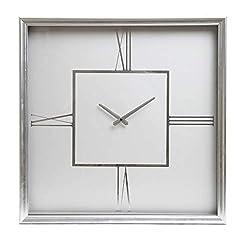 24 White and Silver Roman Numeral Square Wall Clock