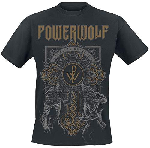 Powerwolf Wolf Cross Männer T-Shirt schwarz L 100% Baumwolle Band-Merch, Bands