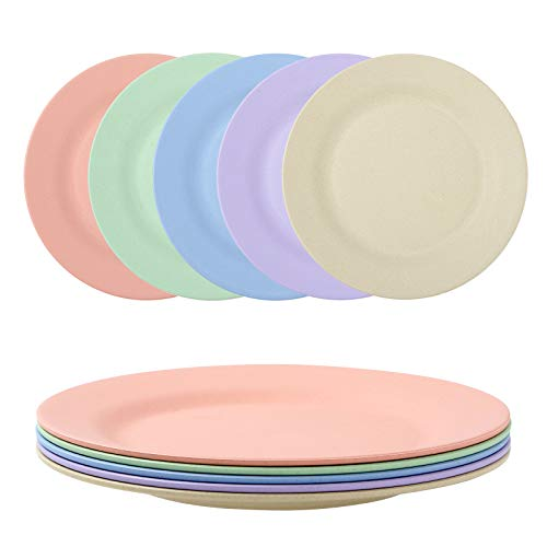 Canruover 11 Inch Wheat Straw Plates - Reusable & Unbreakable Plate Set of 5 - Dishwasher & Microwave Safe - Perfect for Dinner Dishes - Healthy for Kids & Adult, Lightweight, BPA Free