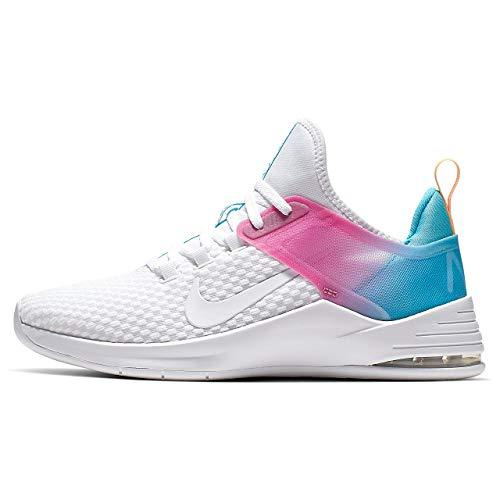 Nike Women's Air Max Bella Trainer 2 Sneaker, White/White - Blue Fury - Laser Fuchsia, 12 Regular US