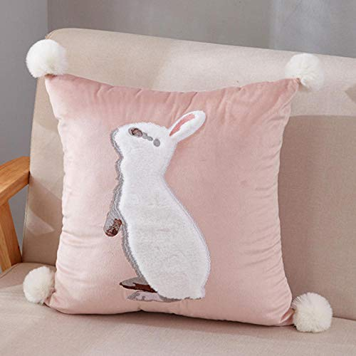 Pastoral American Rabbit Embroidered Patch Butterfly Sofa Cotton Cushion Square Pillow Case@Rabbit patch embroidered jade_45*45cm【Pillow with core】