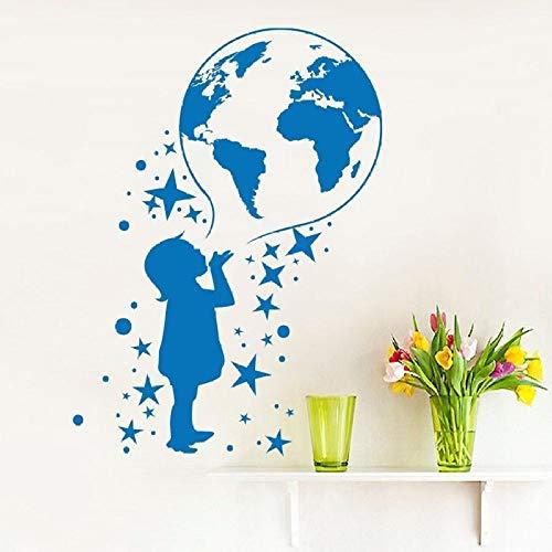 jiuyaomai Tatuajes de Pared de Vinilo Mapa del Mundo Pegatinas de Pared para Habitaciones de niños Posters Extraíble Habitación de niños Calcomanía Home Art Design Mural de Pared púrpura 57x78cm