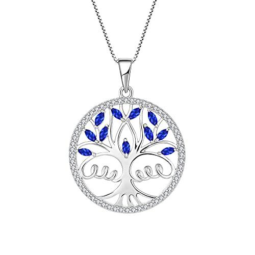 FJ Collar de árbol de la vida, collar de ángel de la guarda con colgante de ala de ángel, plata de ley 925 con piedra natal y circonita cúbica, regalo para mujeres y niñas,