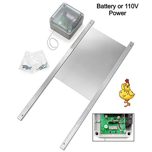 Happy Henhouse Automatic Chicken Coop Door Opener Kit - Light Sensor, Battery Operated - Electric Auto Chicken Guard Door for Coops, Cages, Runs - Sturdy Poultry Safety Supplies Kit