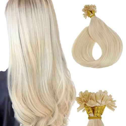 LaaVoo 20 Zoll Utip Extensions Menschenhaarverlängerung Hellblongd Pre Bonded Fusion Hair Haarverlangerung Bonding mit Keratin 50Gramm/50Stuck #24