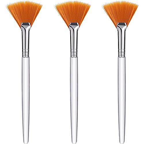3 Piezas Herramientas de Cepillos de Abanico Facial de Maquillaje Brocha de Máscara de Abanico Cepillos Aplicadores Suaves Herramientas Cosméticas para Crema de Mascarilla de Barro