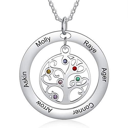 Collar Personalizado Árbol de la Vida Colgante Mujer Collar con 2-9 Nombre y Piedra Grabado Madre e Hija Collar Familia Regalo para Cumpleaños del Día de la Madre