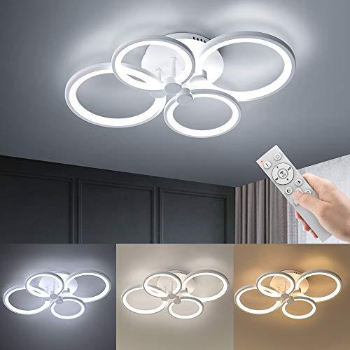 Wayrank Lampadario Led Moderno con 3 Colori, Dimmerabile Plafoniera a LED con Funzione di Memoria, 48W 4 Anello Lampadari Soffitto con Telecomando per Camere da Letto Corridoio Ufficio, 3000K-6500K