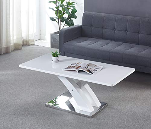Marco MDF Gloss Finish White Coffee Table with Steel Base, Stunning Cross Leg Italian Style Frame with Gloss Finish Table TOP