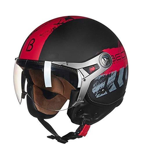MYSdd Motorradhelm Retro Herren und Damen Damen Motorradhalbhelm Vier Jahreszeiten universal Winddicht warm Abnehmbarer Gehörschutz - 20 X XL