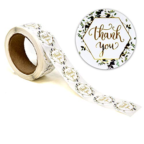 1000 Greenery Thank You Stickers Per Roll 1.5 Inch Round Gold Foil Green Leaf Wreath Frame Paper Adhesive Sticker Labels for Business Letter Envelope Seal Gift Packaging Customer Mailer Box Retail Bag
