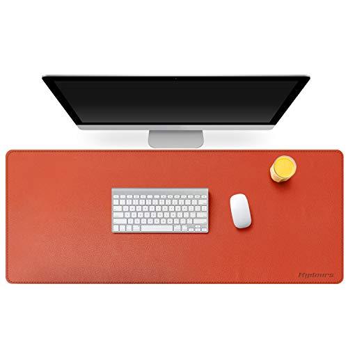 Mydours Große Büro Schreibunterlagen Verlängerter PU Leder Gaming Mauspad Wasserdicht Leder Computer Schreibtisch Matte Mousepad Rutschfeste Unterseite – 115x50cm, Orange
