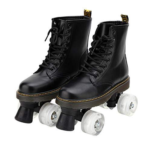 Rollschuhe Für Frauen Und Herren, Stilvolles Erscheinungsbild, Klassische High-Top-4-Räder Skating Roller Doppelreihen-Skates Für Innen- Und Außenunisex,Transparent Wheels,45