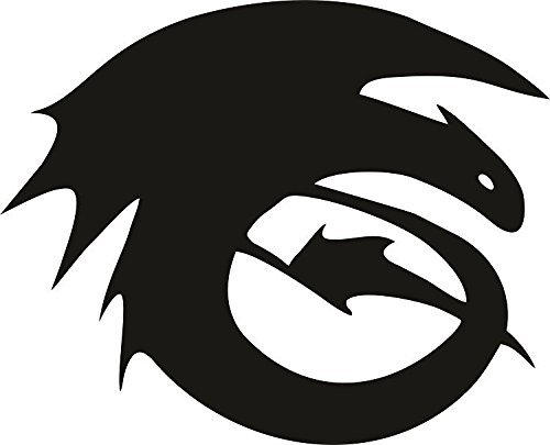 HOW TO TRAIN YOUR DRAGON HICCUP LOGO VINYL STICKERS SYMBOL 5.5' DECORATIVE DIE CUT DECAL FOR CARS TABLETS LAPTOPS SKATEBOARD - BLACK