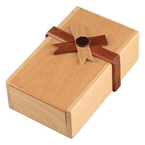 chiwanji Caja de Rompecabezas de Madera con Compartimentos Ocultos Caja de Descifrado Cerebro Difícil