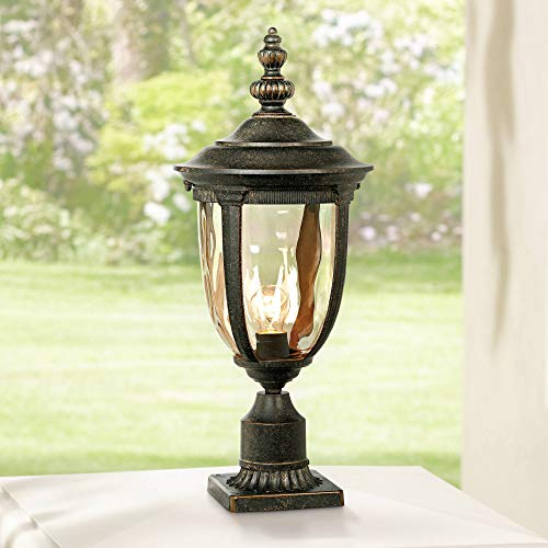 Bellagio Vintage Outdoor Post Light Bronze 25 inch Tall Fixture with Pier Mount for Deck Patio Entryway - John Timberland