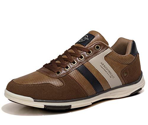 AX BOXING Zapatillas Hombres Aire Libre Deportivo Sneakers Cómodo Elegante Casual Zapatos Tamaño 41-46 (Marrón, Numeric_42)