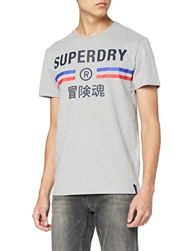 Superdry Vintage Sport tee Camiseta, Grey Marl, S para Hombre