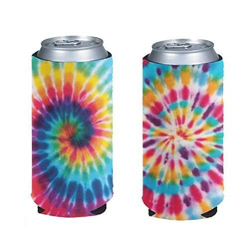 chaqlin - Juego de 2 bolsas de enfriador para latas de cerveza (neopreno, con diseño de lazo, 2 unidades)