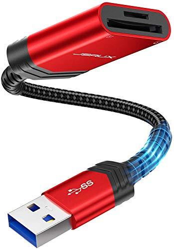 JSAUX Lettore di Schede SD, Adattatore per Lettore di Schede di Memoria SD/TF a Doppio Slot USB 3.0 ad Alta velocità per SD, SDHC, SDXC, RS MMC, Micro SD/SDHC/SDXC, UHS-I per Mac OS, Windows - Rosso