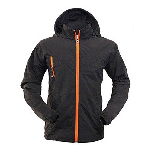 CIKRILAN Homme Coupe-Vent Protection Solaire Capuche Veste Quick Dry Respirant Outdoor Sport Veste de Camping Randonnée (XXXX-Large, Noir)