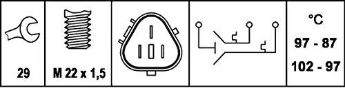 HELLA 6ZT 007 800,111 Interruptor de temperatura, ventilador del radiador , 12V , Número de conexiones: 3 , Conector plano , atornillado , Salida dobleyContacto de cierre