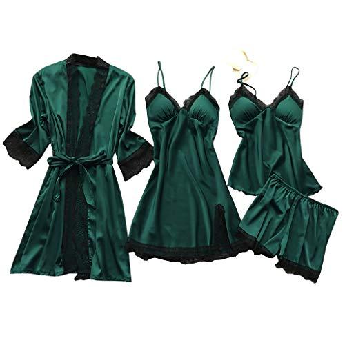 Atezch_ 4PC Sleepwear Set, Lingerie Women Silk Lace Robe Dress Babydoll Sleepwear Nightdress Pajamas Set (Army Green, L)