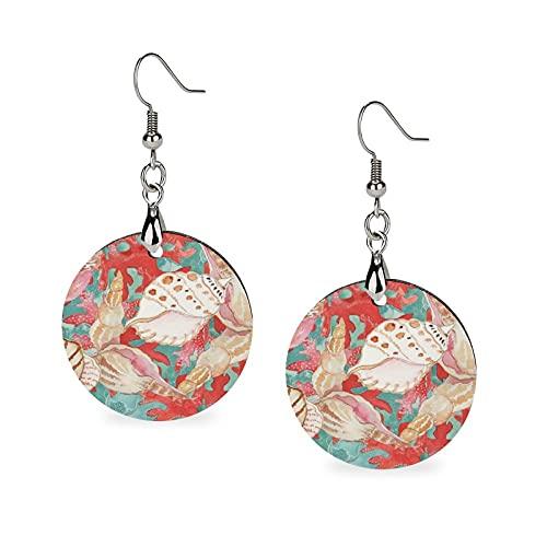 Pendientes de madera para mujer, elegantes con diseño de conchas de mar de color azul turquesa y coral rojo y ligero, pendientes de gota de madera redondos