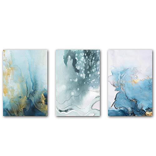 Lienzo Arte de la pared Textura de mármol Póster abstracto Azul marino Arte Pintura Impresión de imagen Decoración de sala de estar contemporánea 23.6 'x31.4' (60x80cm) 3 piezas Sin marco