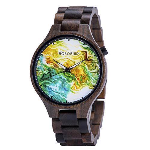 BOBO Bird, orologio da polso da uomo con quadrante in legno, regolabile, cinturino in legno, alla moda, casual, con lancette luminose, per la festa del papà Campo