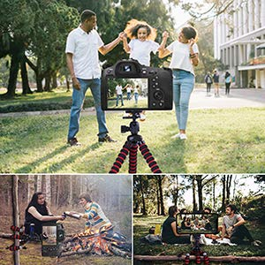 """Phone Tripod, Portable and Flexible Camera Stand Holder with Wireless Remote and Universal Clip for Smart, Android Phone, Camera, Sports Camera GoPro (Small 7.48"""")"""