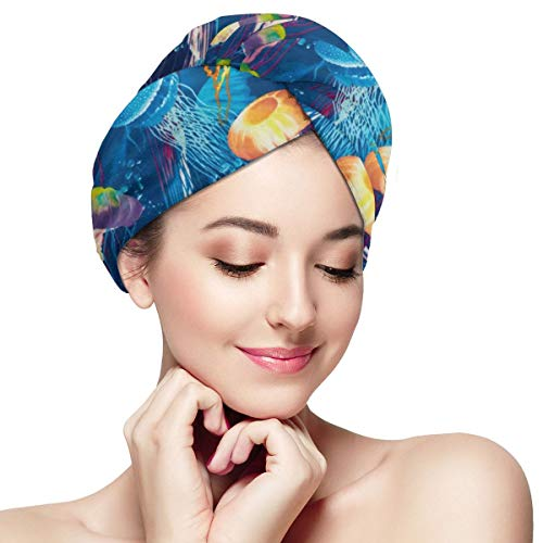 Jellyfish Ocean Blue Medusa Sea Dry Hair Cap Microfibre Hair Towel Wraps Ultra Absorbent Quick Dry Twist Turban with Button for Drying Curly Long Thic