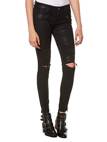 Tigha Damen Sacha Ripped Skinny Jeans, Schwarz (Black Coated 903), 36 (Herstellergröße: 27)
