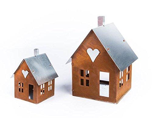ecosoul tuindecoratie huis met metalen dak lantaarn tuinlicht roestvrij staal metaal roest decoratie tuindecoratie vensterbank groß roest