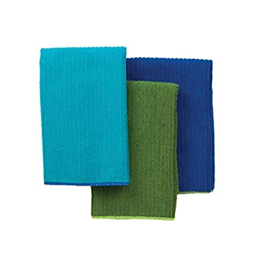 Ritz 16 by 19-Inch Solid Microfiber Kitchen Dish Towel, Blue/Green, 3-Pack