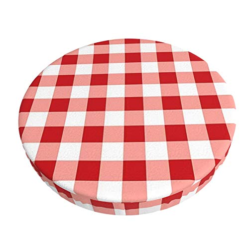 Anti-Slip Round Chairs Cover Stool Covers,Red Gingham Super Breathable Stretch Chair Seat Bar Soft Stool Cover Seat Cushion Slipcovers fits for 13 inch Round Lift Chair Stool