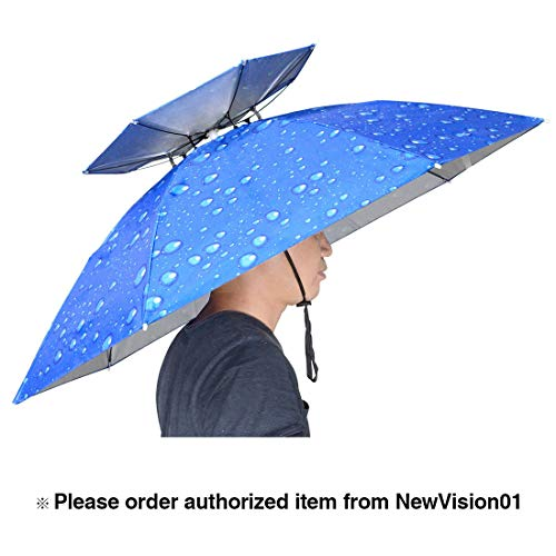 NVioAsport 37.4'' Diameter Double Layer Folding Compact UV Wind Protection Umbrella Hat for Fishing Gardening Outdoor