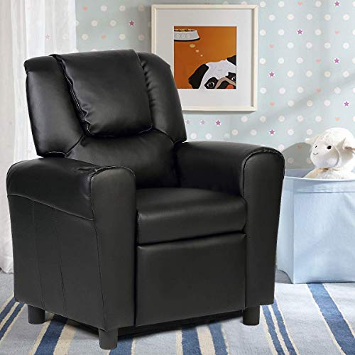 Costzon Kids Sofa Recliner, Children PU Leather Armchair with Front Footrest, Cup Holder, Padded Backrest, Ergonomic Contemporary Sofa for Toddler Boys Girls, Lightweight Sofa Chair (Black)