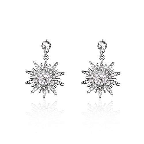 Ohrringe aus Legierung, Schneeflocke, Anhänger, Silberimitat, Badezimmer, Ohrringe, Perlen, Kristall, Anhänger, Ohrringe