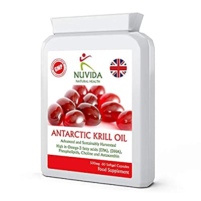Krill Oil Capsules 500mg / 1000mg per Serving / 60 Antarctic Krill Oil Capsules/High in Omega-3 Fatty acids/Soft Gel Easy Swallow Capsules/Sustainably Sourced