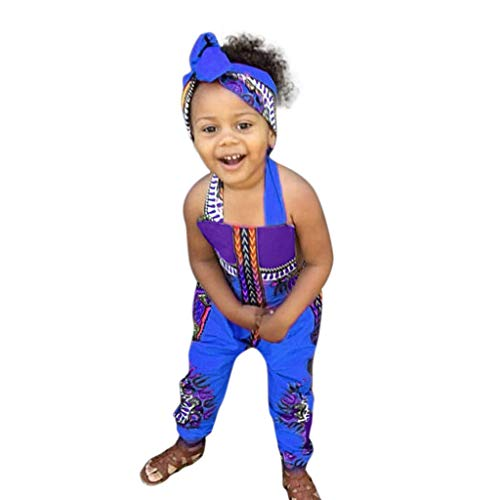 WOCACHI Toddler Kid Baby Girls African Print Sleeveless Romper Hair Band Jumpsuit Clothes Back to School Father's Day Children's Day July 4th Pregnant Woman Love You 3000 Times Blue