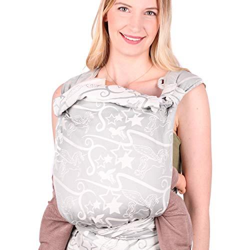 SCHMUSEWOLKE Mei Tai Babytrage Neugeborene und Kleinkinder Magic Grey BIO-Baumwolle Babysize 0-24 Monate 3-16 kg Bauch-und Rückentrage