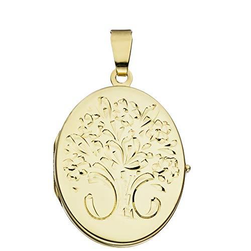 Medaillon oval Hochglanz verziert 585 Gelbgold 14 Karat Gold zum Öffnen für Bildereinlage 2 Fotos/Bilder Amulett Verzierung von Haus der Herzen® mit Schmuck-Etui