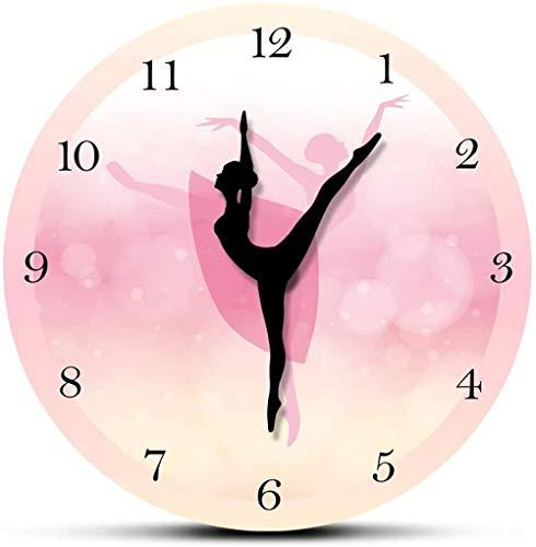 NIUMM Orologio da Parete Ragazza Camera da Letto Decor Balletto Ragazza Principessa Rosa Orologio da Parete Neonata Danza Orologio da Parete Ballerina Movimento Gamba Orologio da Ballo Silenzioso