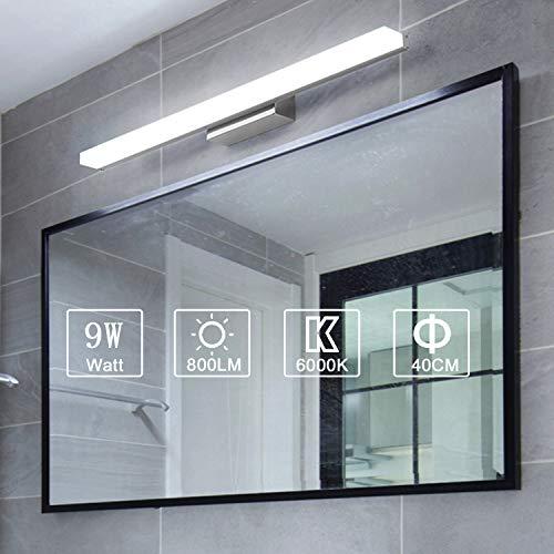 Yafido Aplique Espejo Baño Interior LED 40CM luz Baño Lámpara de Pared Espejo Iluminación para Maquillaje 9W Blanco Frío 6000K 800LM 40CM No-regulable