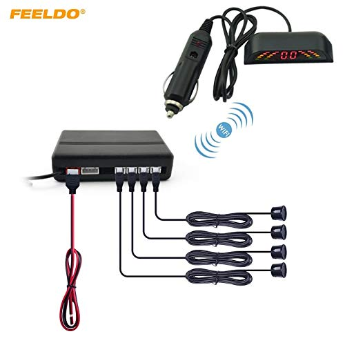 Lowest Prices! Blue : FEELDO 1Set Car LED 4 Wireless Parking Sensor Reversing Backup Radar 10 Colors...